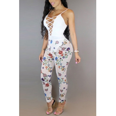 Sexy Deep V Neck Printed Hollow-out White Milk Fiber One-piece Skinny Jumpsuits