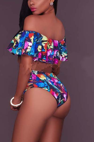 Euramerican Printed Hollow-out Polyester Two-piece Swimwear