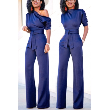 Euramerican Navy Blue Knitting One-piece Jumpsuits