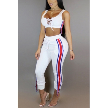 Leisure Round Neck Sleeveless Patchwork White Polyester Two-piece Pants Set