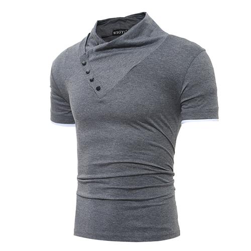 Freizeit Turtleneck Kurzarm-T-Shirts Dekoratives Dunkelgraues Baumwoll-T-Shirt