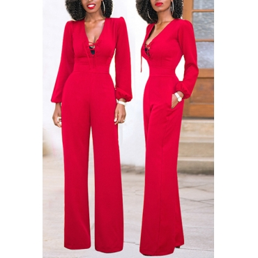 Stylish V Neck Long Sleeves Red Blending One-piece Jumpsuits