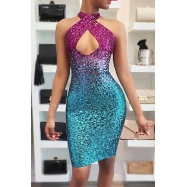 Sexy Sequined Decorative Purple-blue Sheath Knee Length Dress