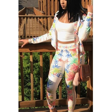 Euramerican Round Neck Long Sleeves Printed White Healthy Fabric Two-piece Pants Set