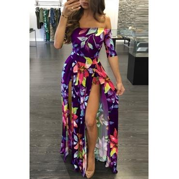 Stylish Dew Shoulder Half Sleeves Floral Print Purple Milk Fiber Floor length Dress
