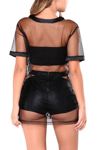 Sexy Round Neck Short Sleeves See-Through Black Polyester T-shirt(Without Lining)