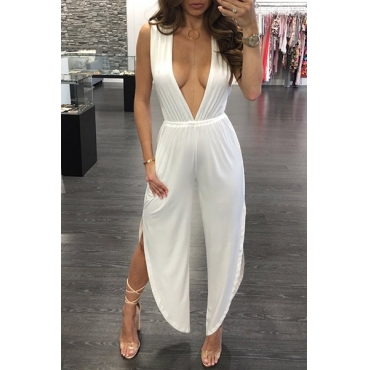 Sexy Deep V Neck White Milk Fiber One-piece Jumpsuits