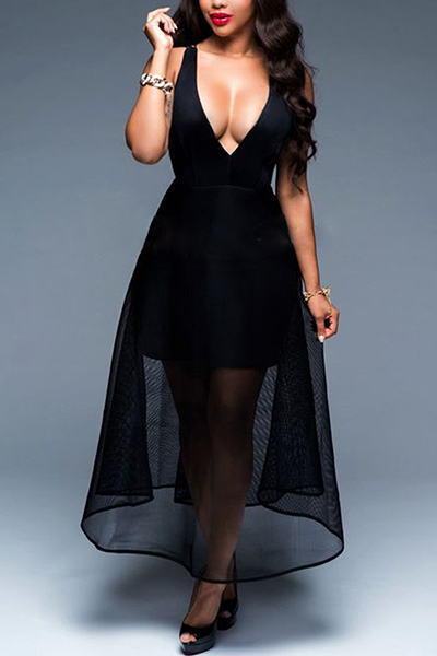 Sexy V Neck Gauze Patchwork Black Milk Fiber Ankle Length Dress