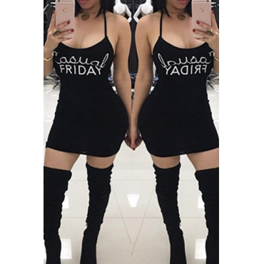 Freizeit U-förmige Hals Buchstaben Druck Kaffee schwarz Mantel Mini Kleid