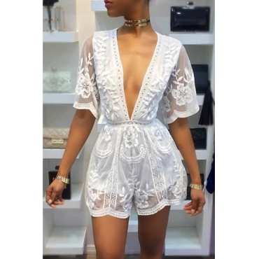 Sexy Deep V Neck See-Through White Lace One-piece Jumpsuits