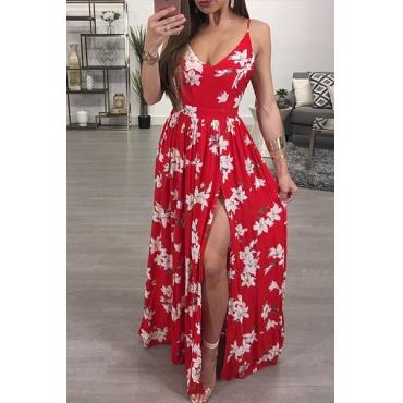Sexy V Neck Sleeveles Printed High Split Red Chiffon Floor Length Dress