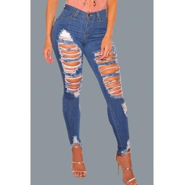 Trendy Mid Waist Broken Holes Blue Cotton Jeans