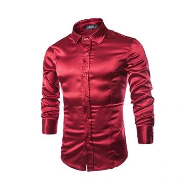 Stylish Turndown Collar Long Sleeves Wine Red Cotton Shirts