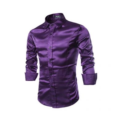 Stylish Turndown Collar Long Sleeves Purple Cotton Shirts