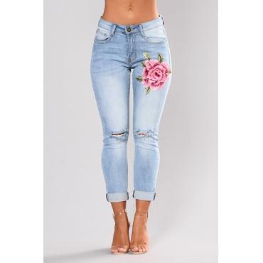 Stylish Mid Waist Embroidered Design Light Blue Blending Jeans