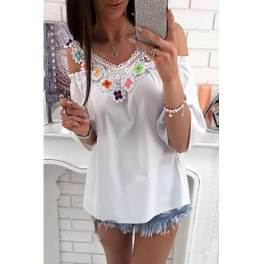 Sexy V Neck Long Sleeves Lace Trim Patchwork White Polyester Shirts