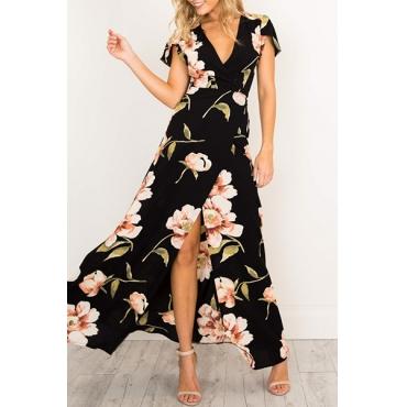 Sexy V Neck Printed High Split Black Polyester Ankle Length Dress