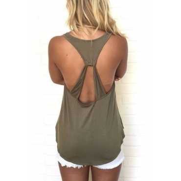 Sexy Hollow-out Green Cotton Tank Top