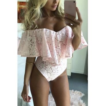 Sexy V Neck Falbala Design Pink Bud Silk One-piece Skinny Jumpsuits