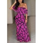 Очаровательная Bateau Шея с короткими рукавами Falbala Design Purple Milk Fiber Sheath Anchle Length Dress