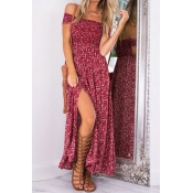 Charming Dew Shoulder Printed High Split Red Blend