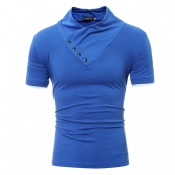 Leisure Turtleneck Short Sleeves Botones decorativos de algodón Royalblue camiseta