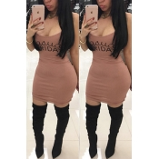 Leisure U-shaped Neck Letters Printing Coffee Blending Sheath Mini Dress
