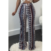 Stylish High Waist Printed Cotton Pants