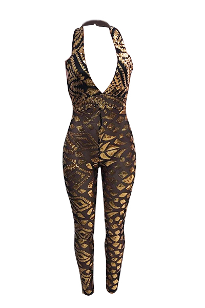 Sexy profundo V pescoço sem mangas backless ouro sequined mono-skinny jumpsuits