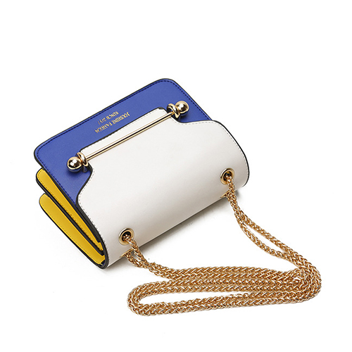 Fashion Patchwork White-blue PU Crossbody Bag