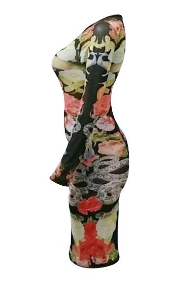 Sexy Round Neck mangas compridas impressas See-Through bolsa de poliéster vestido de comprimento do joelho