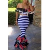 Encantador Dew Shoulder Striped Printed Multi Healthy Conjunto de saia de duas peças