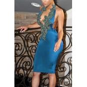 Sexy V Neck Backless, azul claro, bainha de poliéster, joelho, comprimento, vestido
