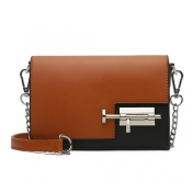 Fashion Brown Black Patchwork PU Crossbody Bag
