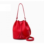 Fashion Tassel Design Red PU Solid String Shoulder Bags