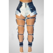 Stylish High Waist Broken Holes Blue Denim Jeans